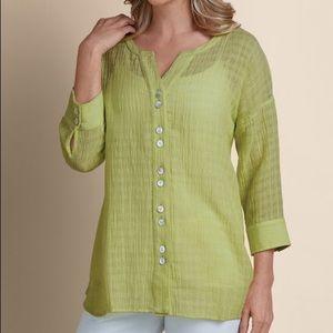 Soft Surroundings Linen Blend Crinkled Gauze Shirt